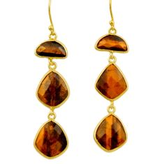 23.42cts natural brown tiger's eye 925 silver 14k gold dangle earrings r32652