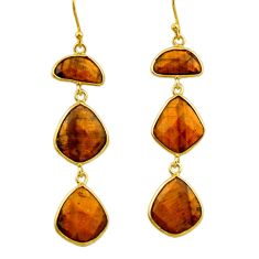 22.08cts natural brown tiger's eye 925 silver 14k gold dangle earrings r32653