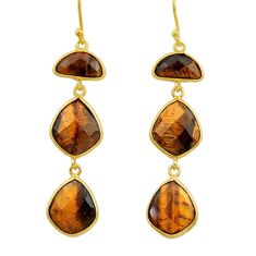 22.78cts natural brown tiger's eye 925 silver 14k gold dangle earrings r32656