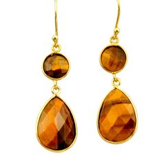 16.71cts natural brown tiger's eye 925 silver 14k gold dangle earrings r32716