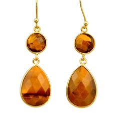 14.85cts natural brown tiger's eye 925 silver 14k gold dangle earrings r32717