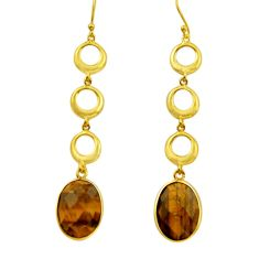 20.51cts natural brown tiger's eye 925 silver 14k gold dangle earrings r32733