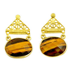 18.39cts natural brown tiger's eye 925 silver 14k gold dangle earrings r32755