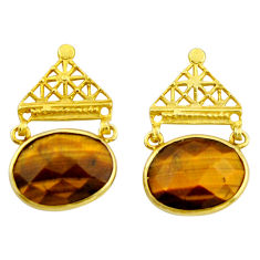19.18cts natural brown tiger's eye 925 silver 14k gold dangle earrings r32757