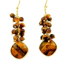 27.17cts natural brown tiger's eye 925 silver 14k gold dangle earrings r32797
