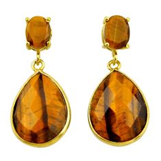 21.41cts natural brown tiger's eye 925 silver 14k gold dangle earrings r32820