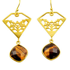 13.79cts natural brown tiger's eye 925 silver 14k gold dangle earrings r32858