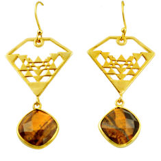 13.38cts natural brown tiger's eye 925 silver 14k gold dangle earrings r32860