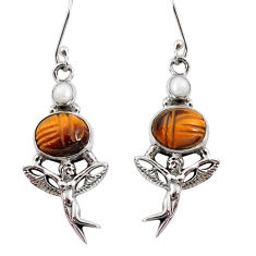 11.02cts natural brown tiger's eye 925 silver angel wings fairy earrings d40512