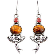 10.59cts natural brown tiger's eye 925 silver angel wings fairy earrings d40513