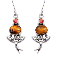 10.56cts natural brown tiger's eye 925 silver angel wings fairy earrings d40514