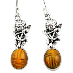7.54cts natural brown tiger's eye 925 sterling silver angel earrings d46774
