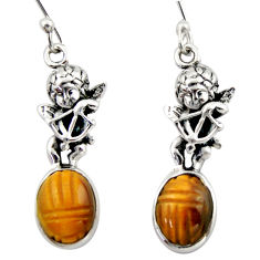 7.89cts natural brown tiger's eye 925 sterling silver angel earrings d46775