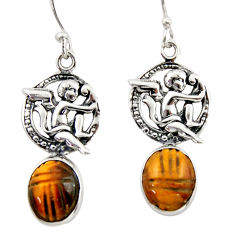 7.89cts natural brown tiger's eye 925 sterling silver angel earrings d46779