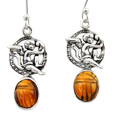 7.89cts natural brown tiger's eye 925 sterling silver angel earrings d46780