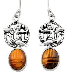 8.22cts natural brown tiger's eye 925 sterling silver angel earrings d46903