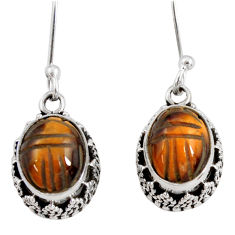7.24cts natural brown tiger's eye 925 sterling silver dangle earrings d40412