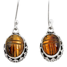 7.66cts natural brown tiger's eye 925 sterling silver dangle earrings d40413