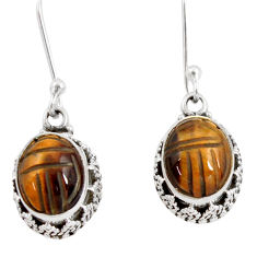 7.66cts natural brown tiger's eye 925 sterling silver dangle earrings d40415