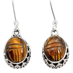 7.24cts natural brown tiger's eye 925 sterling silver dangle earrings d40416