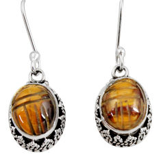7.24cts natural brown tiger's eye 925 sterling silver dangle earrings d40417
