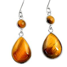 14.08cts natural brown tiger's eye 925 sterling silver dangle earrings d45747