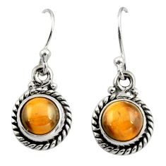 4.59cts natural brown tiger's eye 925 sterling silver dangle earrings r26707