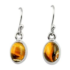 3.74cts natural brown tiger's eye 925 sterling silver dangle earrings r26708