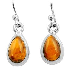 4.30cts natural brown tiger's eye 925 sterling silver dangle earrings r26730