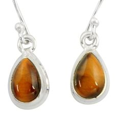 3.49cts natural brown tiger's eye 925 sterling silver dangle earrings r41081