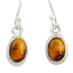 3.49cts natural brown tiger's eye 925 sterling silver dangle earrings r41082