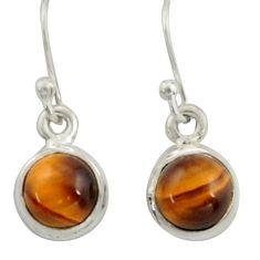 4.73cts natural brown tiger's eye 925 sterling silver dangle earrings r41083