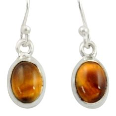 4.23cts natural brown tiger's eye 925 sterling silver dangle earrings r41085