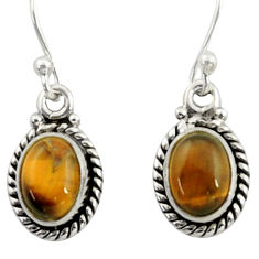 3.98cts natural brown tiger's eye 925 sterling silver dangle earrings r41086