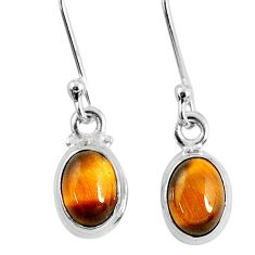 3.24cts natural brown tiger's eye 925 sterling silver dangle earrings r60697