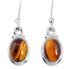 4.21cts natural brown tiger's eye 925 sterling silver dangle earrings r60712