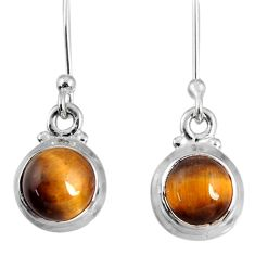 5.45cts natural brown tiger's eye 925 sterling silver dangle earrings r60713