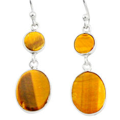 7.38cts natural brown tiger's eye 925 sterling silver dangle earrings r88182
