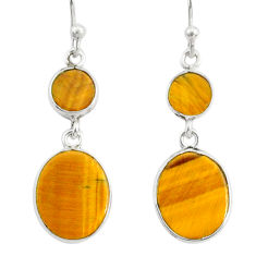 7.38cts natural brown tiger's eye 925 sterling silver dangle earrings r88185