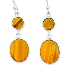 6.80cts natural brown tiger's eye 925 sterling silver dangle earrings r88186