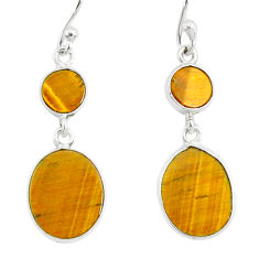 7.44cts natural brown tiger's eye 925 sterling silver dangle earrings r88187
