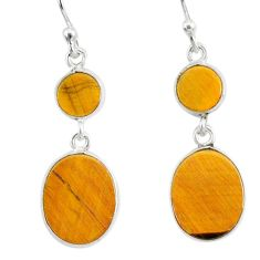 7.47cts natural brown tiger's eye 925 sterling silver dangle earrings r88189