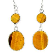 6.19cts natural brown tiger's eye 925 sterling silver dangle earrings r88190