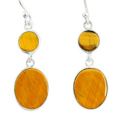 7.87cts natural brown tiger's eye 925 sterling silver dangle earrings r88191