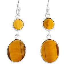 6.77cts natural brown tiger's eye 925 sterling silver dangle earrings r88193
