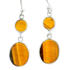 8.08cts natural brown tiger's eye 925 sterling silver dangle earrings r88194