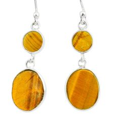 8.48cts natural brown tiger's eye 925 sterling silver dangle earrings r88195
