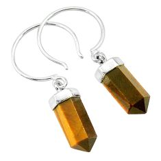 11.04cts natural brown tiger's eye 925 sterling silver dangle earrings r95103