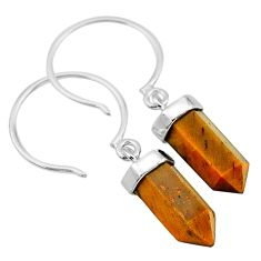 8.95cts natural brown tiger's eye 925 sterling silver dangle earrings t20571
