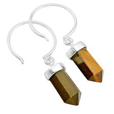 9.25cts natural brown tiger's eye 925 sterling silver dangle earrings t20573